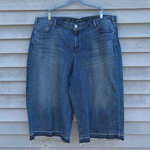 Lane Bryant Crop Denim Shorts 28 Plus Size